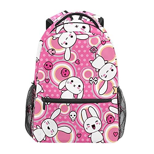 Zainetto a pois rosa con coniglietto a forma di coniglio per scuola, università, viaggi, escursionismo, moda per computer portatile, per donne, uomini, adolescenti, casual, borse di tela
