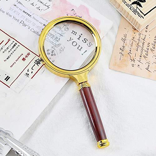 JKCKHA Portátil 10X joyería Lupa Lupa de Mano Led 80mm Oro Cristal óptico de Lectura y la Herramienta de la reparación del Reloj (Color : As pic4, Size : 10X)
