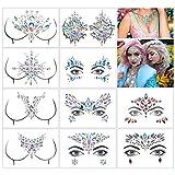 Kitchen-dream 10 Sets Gemas faciales Rhinestone Rave Festival Face Jewels Crystal Glitter Face Stickers para Ojos Cara Pecho Cuerpo