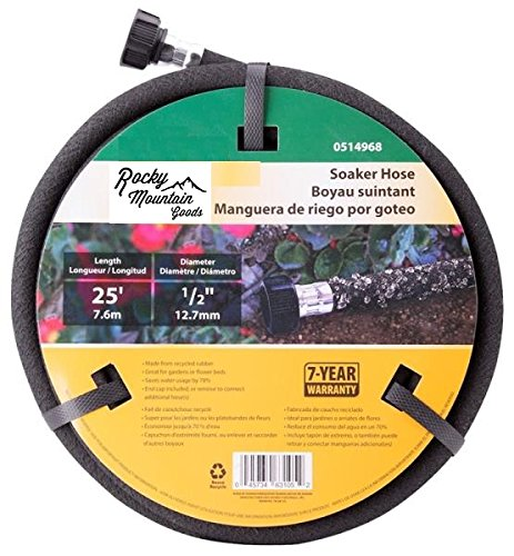 Rocky Mountain Goods Soaker Hose - Heavy duty rubber - Saves 70% water - End cap included for additional hose connect - Great for gardens/flower beds - Reinforced fittings (25-Feet by 1/2-inch)