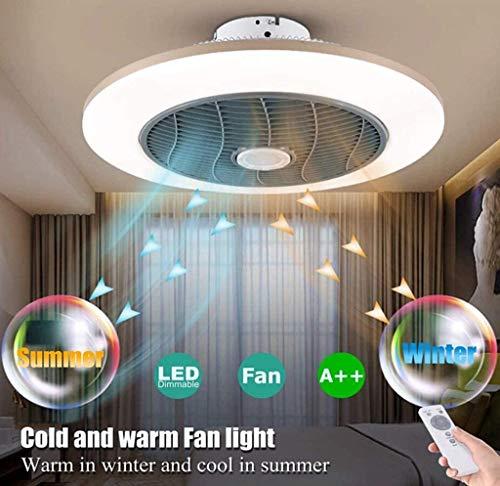 Deckenleuchte Deckenventilatoren mit Lampen mit Fernbedienung, dimmbar 72WLED Runde Deckenlampe mit Ventilator und Heizung, Sommer- oder Winterbetrieb, moderner ultra-Quiet Wohnzimmer Schlafzimmer,1