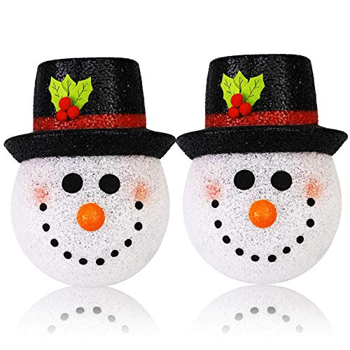 Seniny Christmas Porch Light Cover 2 Pack, Snowman Light Covers for Christmas Outdoor Decorations, Perfect for Holidays Season's Plastic Christmas Light Covers, Cute Snowman Snowman Lamp Post Cover