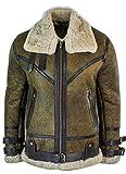 Veste pilote Air Force cuir peau de mouton Sherling véritable viking vintage marron fourrure crème homme