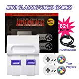 KINOEE Classic Handheld Game Console, HD Built-in 821 Classic Games and 2 NES Classic Controller HDMI Output Video Games, is an Ideal Gift Choice for Children and Adults (White)