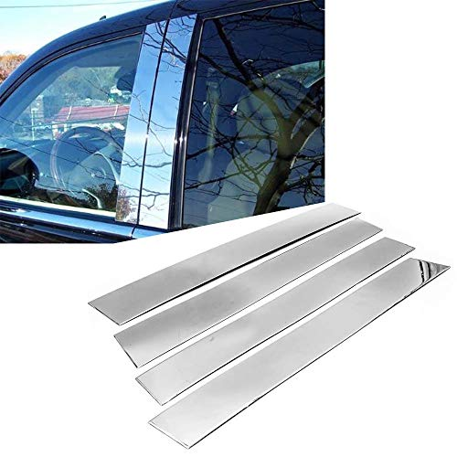Overun Polished Stainless Steel Center Door Pillar Post Trim Set Designed for 2007-2014 Cadillac Escalade
