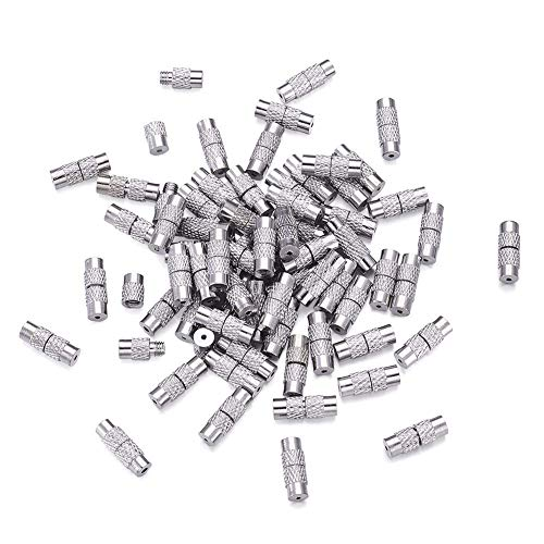 Kissitty 100 Sets Platinum Plated Brass Screw Twist Clasps 1mm Hole Tube Fastener Cord End Caps 12x4mm for DIY Jewelry Bracelet Necklace Making