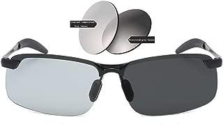 DR. OR GETEK Sunglasses Photochromic Polarized Lens, Smart Bi-Color Polarized Anti Glare Anti Glare, Color Changing Lens Sunglasses, 100% UV Protection for Indoor and Outdoor (Smart Photochromic)
