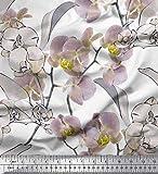 Soimoi Lila Viskose Chiffon Stoff Blätter & Orchideen