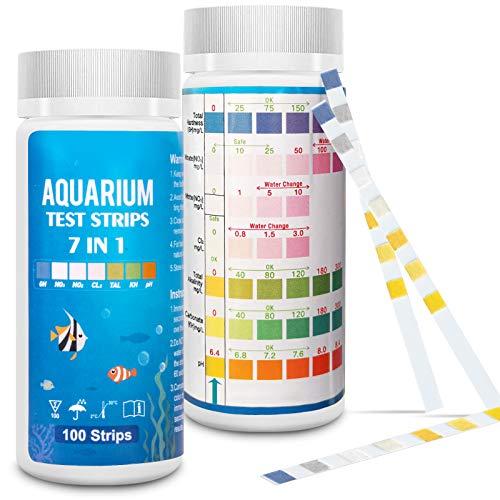 FUNSW Aquarium Test Strips 7 in 1,Freshwater Master Kit, Water Testing Kit for Pond and Fish Tank,Nitrite, General Hardness, Free Chlorine,pH, Carbonate(100PCS)