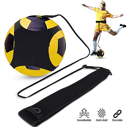 Kit Allenamento Calcio col Pallone, Trainer da Calcio per Bambini e Adulti, Individuale Cintura Regolabile Attrezzatura, Aiuto Migliorare il Controllo di Palla, Cintura Mazione Pratica
