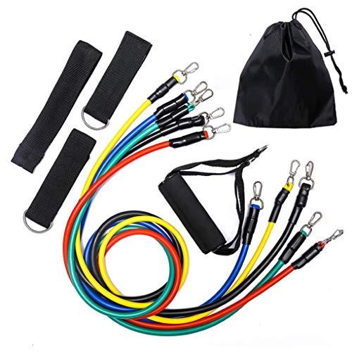 Juego de bandas de resistencia AMAZING1 – Incluye 5 bandas elásticas apilables con bolsa de transporte, anclaje de puerta, correas de tobillo, asas de espuma