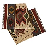 Handarbeit Bazarr Indischer handgewebter Vintage-Arbeitszimmerteppich Wolle Jute wendbar Kelim-Teppiche Boden Dhurries handgeknüpfter dekorativer Teppich Set