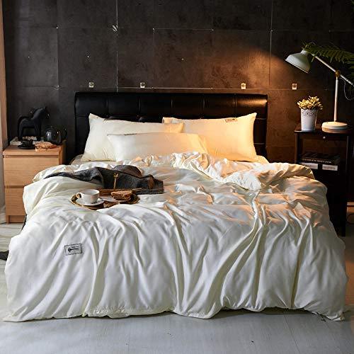 Bedding-LZ Funda de edredón 220x240,Cama Individual de Dormitorio de Estilo nórdico de Primavera y Verano de Cuatro Piezas de Seda Lavada de Color Puro-L_Cama de 1.8M (4 Piezas)