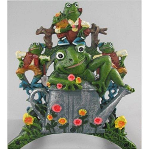 Relaxdays Gusseisen HxBxT: 19 x 27 x 17 cm grau Gartenschlauchhalter, Schlauchhalter Frosch mit Motiv