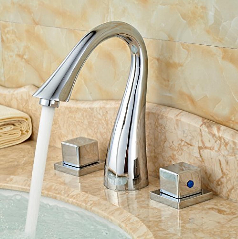 Moderne verbreitete Chrom Badezimmer Waschbecken Wasserhahn Dual Griff Messing Mischbatterien