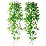 Mocoosy 2 Pack Artificial Hanging Plants with Baskets, Fake Hanging Ivy Vine Wall Hanging Plants Greenery for Home Garden Room Wedding Decorations