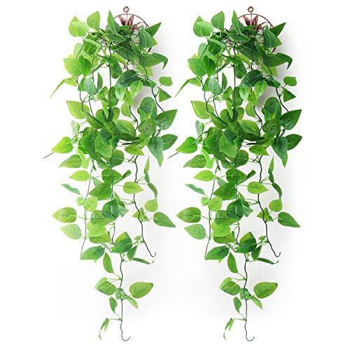 Mocoosy 2er Pack künstliche Hängende Pflanzen mit Körben, gefälscht Hängende Blätter Künstliche Pflanzen Wand Hängende Efeu Grün Rebe für Haus Garten Zimmer Hochzeit Dekorationen -(2 Körbe)
