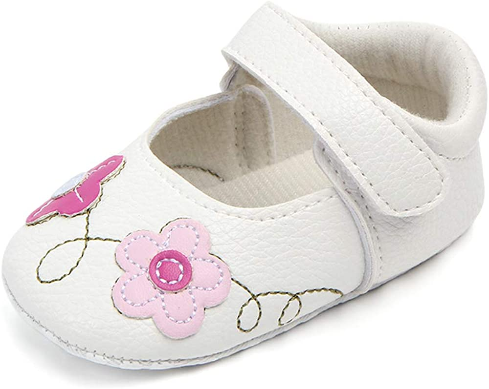 Infant Baby Girls Mary Jane Flats Dress Shoes Toddler First Walkers Floral Soft Sole Crib Shoes