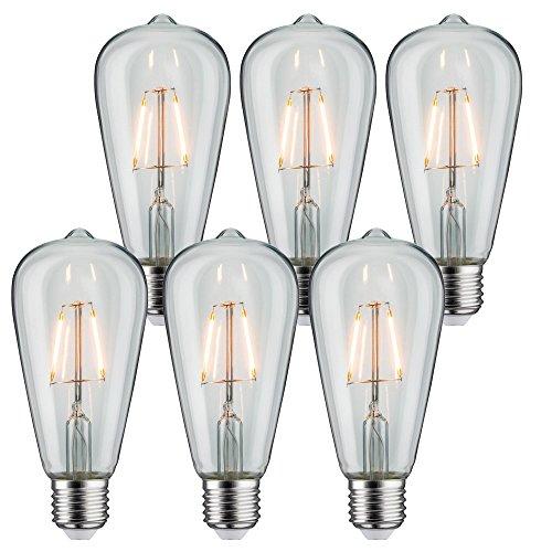 6 x Paulmann LED Vintage Rustika Filament Edison ST64 2,5W E27 extra warmweiß 1800K Goldlicht