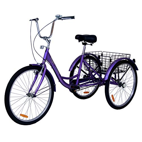 Royal London Adult Bromley Tricycle 3 Wheeled Trike Bicycle w/Shopping Basket Purple