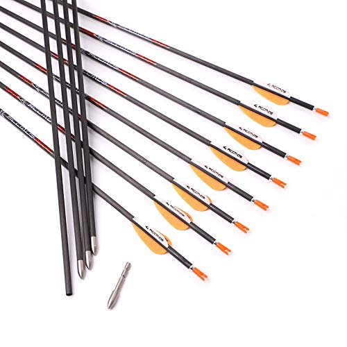 600 Spine Arrow 28 Inch Arrow Target Practice Arrow Hunting Arrow Carbon Arrows Compound Bow Recurve Bow Adult Youth Archery Indoor Outdoor Shooting Bullet Tip Orange 12pc