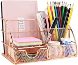 Organizador de escritorio de MORIGEM, organizador de oficina con bandeja para cartas, soporte para bolígrafos, organizador de documentos y cajón, de metal para oficina, escuela y hogar, color Oro Rosa