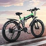 LAZNG Adulto eléctrica Plegable de Bicicletas, Bicicletas de montaña de 26 Pulgadas de Nieve de la Bici, batería de Litio de 13Ah / 48V500W Motor, Faro 4.0 Fat Tire/LED y USB de Carga del teléfono m