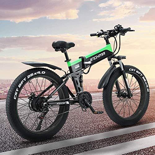 LAZNG Adulto eléctrica Plegable de Bicicletas, Bicicletas de montaña de 26 Pulgadas...