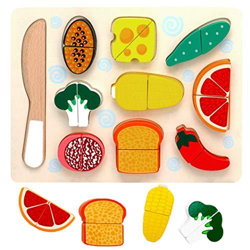 frutta giocattolo per bambini, Taglio Frutta Verdura,Giochi Bambini da Puzzle in Legno, Giocattoli da Animali Puzzle 3D,Montessori Educativo Giocattoli di Taglio,puzzle legno bambini (prima colazione)