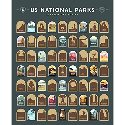 """US National Parks Scratch Off Poster - All 63 National Parks - 16"""" x 20"""""""