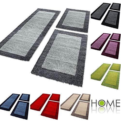 HomebyHome - Tappeto Shaggy per camera da letto, a pelo lungo, 3 pezzi, talpa, 2 mal 60x110 + 1 mal 80x150