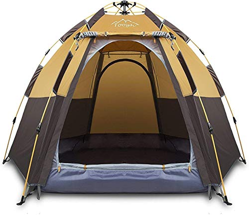 Toogh 3-4 Person Camping Tent Backpacking Tents Hexagon Waterproof Dome Automatic Pop-Up Outdoor...