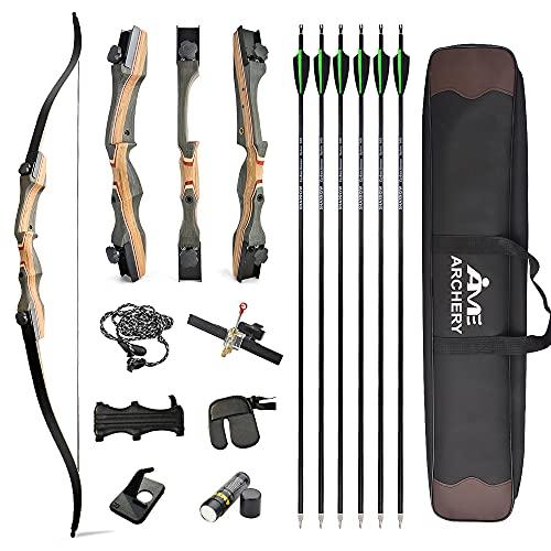 """AMEYXGS 62"""" Arco ricurvo da tiro con l'arco Adulti e giovani Arco da caccia 30-50LBS Riser in legno con accessori per tiro con l'arco Mano destra (50lbs, Tipo 2)"""