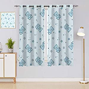 Yahonwa Nursery Blackout Curtains, Teddy Bears and Toys with Letters on Children Imagery Baby Blue Background Window Treatments 2 Panels Set, Each Panel 26″ Wx63 L Baby Blue Aqua