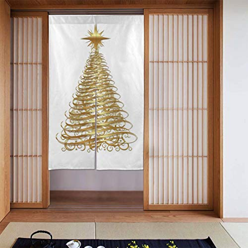 Gold Ribbon Christmas Tree Doorway Curtain Blackout Curtain for Kitchen Bistro Living Room Partition Shading Home Decorative