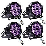 UV LED Beleuchtung, UKing Schwarzlicht 36 UV LED Strahler mit Fernbedienung und DMX Steuerung Ton aktiviert Schwarzlichtlampe für DJ Disco Bar Hochzeit Weihnachten Partylicht (4 Pack)