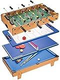 N/Z Equipo Diario Mesa de futbolín 4 en 1 Mesa de Juego combinada con futbolín/Hockey sobre Hielo/Tenis de Mesa/Billar para Adultos y niños