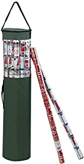 ProPik Gift Wrapping Paper Storage Organizer Bag, Store Up to 24 Rolls 40 Inch, Heavy Duty Polyester Plus PVC Clear Bag with Handles and Zippered Top Wrap and Ribbons (Green)