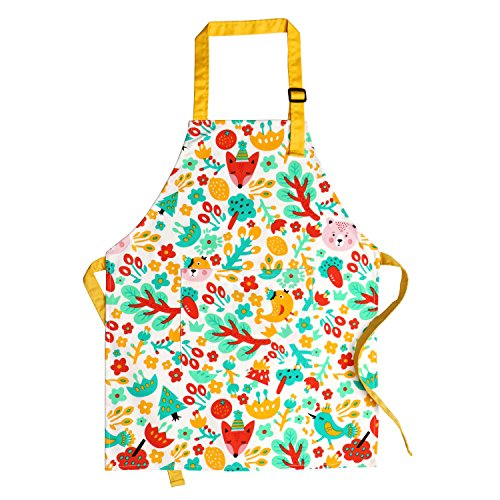 Children Cooking Aprons, Pure Cotton Canvas Children Kids Aprons with Adjustable Neck Strap and Pocket Cute Child Chef Aprons for Boys and Girls in 2 Sizes (White 1, L)
