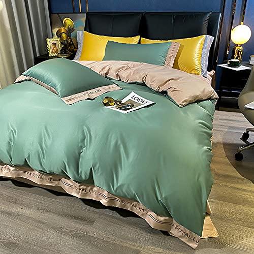 juegos de sábanas 105 x 190,Conjunto de cobertura de seda satinada completa Conjunto con cierre de cremallera - Calidad Ultra Soft Premium PREMIUM de 4 piezas Conjuntos de colección de ropa de cama -
