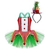 Alvivi Disfraz de Elfa Niña para Fiesta Navidad Halloween Carnaval Vestido de Hadas con Diadema Disfraz de Campanillas Niña 4-14años Rojo+Azul 10 años