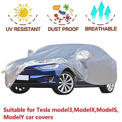 Auto Ganzgarage Plane Cover Kompatibel mit TES l-a Model3 ModelX Models ModelY,Autoabdeckung Autogarage mit Reißverschluß, Outdoor UV-Schutz für Winter Sommer,Abdeckung...