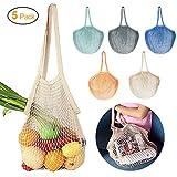 JUCERS 5er-Pack Cotton Einkaufsnetz Netzbeutel mit Langer Griff, Tragbar Wiederverwendbare Obst- und...