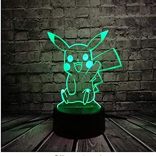 YGQersh La novedad de la Luz de la Noche Pokemon Go Juego Pikachu 3D Lámpara USB Luz de Noche Multicolor LED RGB Bombilla de Iluminación Niño Juguetes