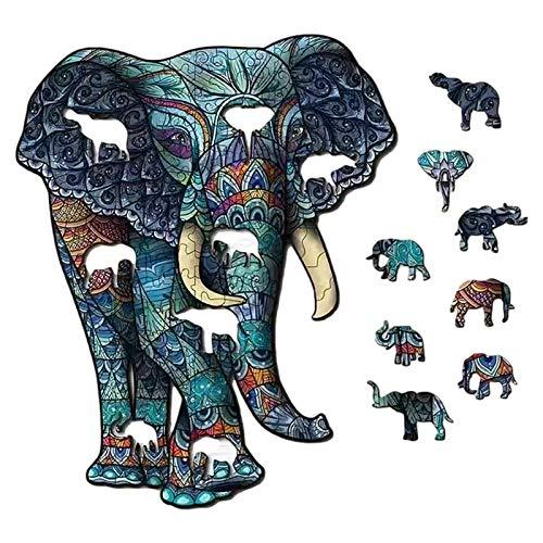 Awayhall Puzzle in Legno Blocchi Colorati di Puzzle Puzzle con Forma Unica Puzzle Forma Irregolare Farfalla Fiore Gatto Fiore Elefante Dinosauro Puzzle in Legno Sagomato Wooden Cartoon Adult Kids Toy