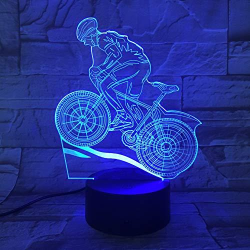 Impresionante para deportes extremos en bicicleta, una pequeña luz nocturna LED 3D Lámpara de mesa pequeña Interfaz USB Luz de control remoto táctil Luz de noche colorida