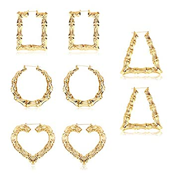Udalyn 4 PairsBamboo Hoop Earrings for Women Large Heart Square Geometric Earrings Oversized Gold Bamboo Hoop Earrings Set Hip-Pop Jewelry Fashion Party Costume Accessory