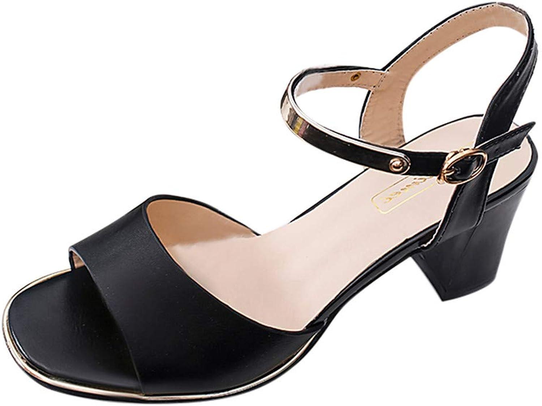 BOLUOYI 2019 High Heels for Women Women's Fashion Casual Solid Buckle Peep Toe High Heel shoes Square Heel Sandals Sandals Womens Heel Wedge