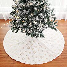 Christmas Tree Skirt 48 inches Xmas Burlap Tree Skirt White Snowflake Printed Christmas Decorations Indoor Outdoor for Traditional Theme Festive Holiday Christmas (Gold Embroidery Snowflakes, 48
