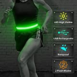 BSEEN LED Running Belt, Glow in The Dark USB Rechargeable Reflective LED Waist Belt, High Visility Safety Gear for Running, Cycling, Jogging, Hiking (Green)